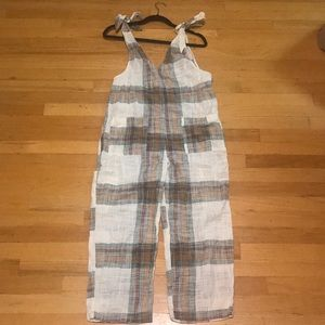 New Free People plaid jumpsuit size small